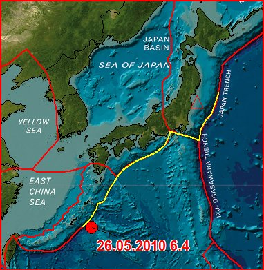 Earthquake in Japan – Magnitude 6.4 - SOUTHEAST OF THE RYUKYU ISLANDS 2010 May 26
