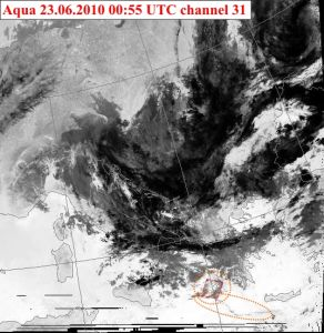 EQ cloud above Ionian sea on the image of Aqua satellite of 06/23/2010 00:55UTC Image source: NERC Satellite Receiving Station, University of Dundee