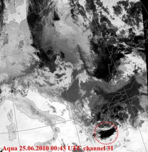 EQ cloud above Aegean sea on 06/25/2010 Image source: NERC Satellite Receiving Station, University of Dundee