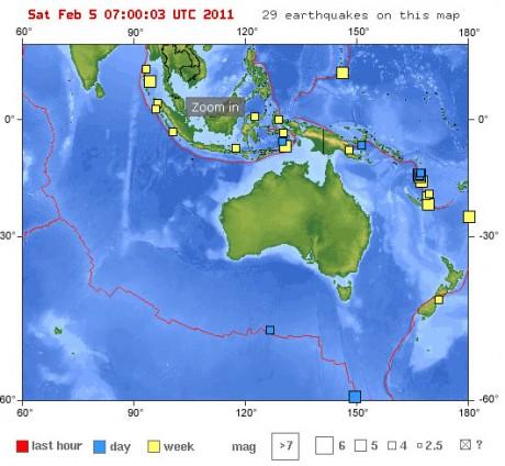 Сейсмическая активность в районе Австралии за последнюю неделю (по данным USGS)