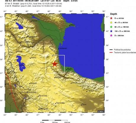 Положение эпицентра землетрясения в северо-западном Иране