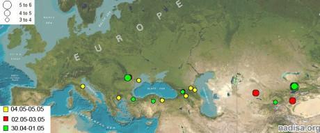 Сейсмическая обстановка в дипазоне широт 42-45 с.ш. за 30.04.2011-05.05.2011