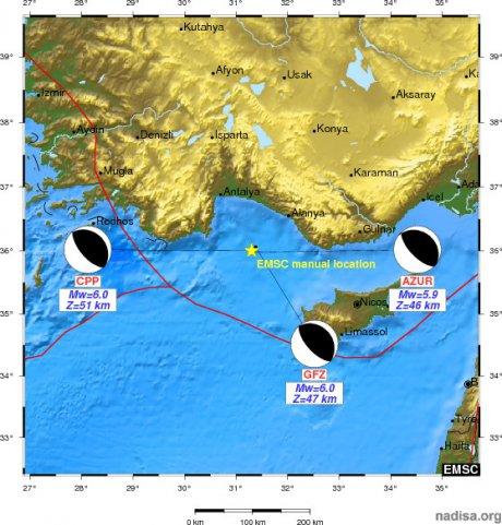 На юго-западе Турции произошло землетрясение магнитудой 5,8