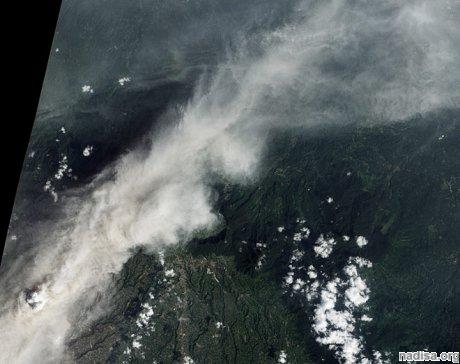 Пепел Синабунга удалось запечатлеть из космоса