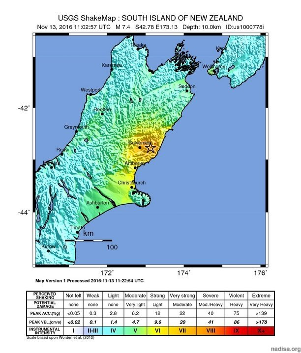 Extremely dangerous M7.4 earthquake hits near Christchurch, New Zealand