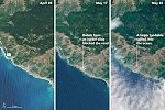 Massive California Highway 1 landslide seen from space