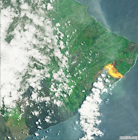 Спутники засняли последствия извержения вулкана Килауэа