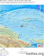 Shallow M6.1 earthquake under Bismarck Sea, Papua New Guinea
