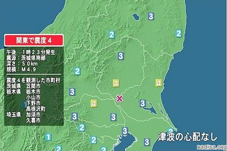 Землетрясение магнитудой 4,9 сотрясло восточную часть Японии