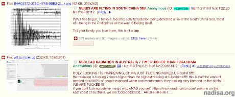 Множество сообщений в соцсетях: «Сейсмическая активность/радиация по всему Южно-Китайскому морю»