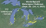 World record waterspout outbreak over the Great Lakes